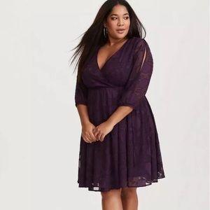 Torrid purple lace wrap dress